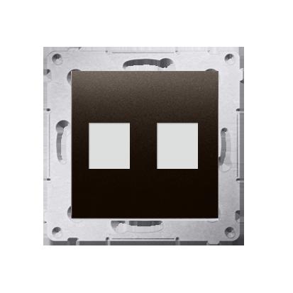 Abdeckung für Telefon- und Datensteckdose (Modul) 2fach auf Keystone braun DKP2.01/46