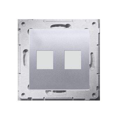 Abdeckung für Telefon- und Datensteckdose Modul 2fach auf Keystone silber matt DKP2.01/43