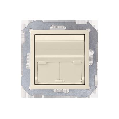 Abdeckung für UAE- Dose RJ45 2fach beige matt schräg Kontakt Simon 82 82579-31