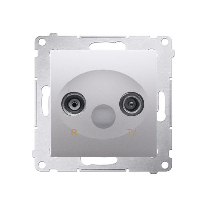 Antennendose  R-TV Enddose silber matt Simon 54 Premium Kontakt Simon DAK.01/43