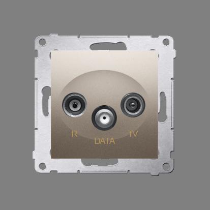Antennensteckdose R-TV-DATA 10dB gold matt Simon 54 Premium Kontakt Simon DAD.01/44