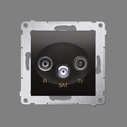 Antennensteckdose R-TV-SAT Durchgangsdose anthrazit matt Simon 54 Premium Kontakt Simon DASP.01/48