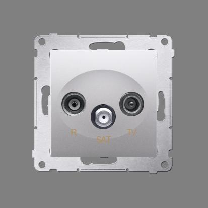 Antennensteckdose R-TV-SAT Durchgangsdose silber matt Simon 54 Premium Kontakt Simon DASP.01/43