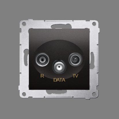Antennensteckdose TV-DATA 2x 'F' 5-1000 MHz anthrazit matt Simon 54 Premium Kontakt Simon DAD1.01/48
