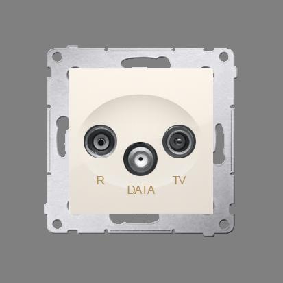 Antennensteckdose TV-DATA 2x 'F' 5-1000 MHz cremeweiß Simon 54 Premium Kontakt Simon DAD1.01/41