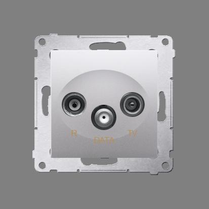 Antennensteckdose TV-DATA 2x 'F' 5-1000 MHz silber Simon 54 Premium Kontakt Simon DAD1.01/43