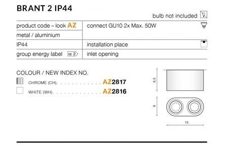 Aufbaustrahler BRANT 2 Modern Metall, Aluminium Weiß Azzardo AZ2816