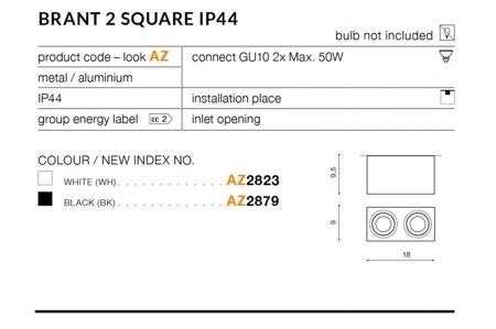 Aufbaustrahler BRANT 2 SQUARE Modern Metall, Aluminium Schwarz Azzardo AZ2879