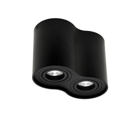 AufbaustrahlerDeckenspotleuchte 2 schwarz black 2xGU10 IP20 rund 2-flammig