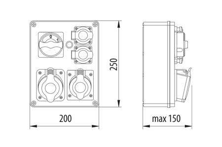 Baustromverteiler, Wandverteiler , Stromverteiler  R-BOX 240 1x32A/5P, 1x16A/5P, 2x250V Schalter 0/1 B.1094W Pawbol