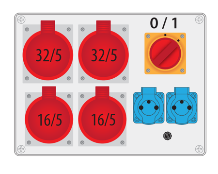 Baustromverteiler, Wandverteiler , Stromverteiler  R-BOX 300 2x32A/5P, 2x16A/5P, 2x250V Schalter 0/1 B.18.3180W Pawbol