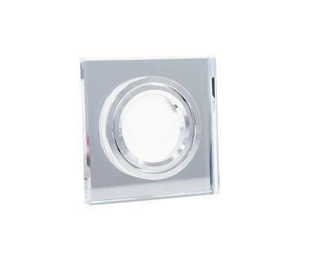 Deckeneinbauleuchte Deckenstrahler dekorativ eckig schwenkbar GU10/MR16 Glas silber