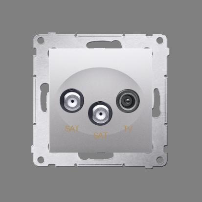Doppel- Antennensteckdose SAT-SAT-RTV 1dB silber matt Simon 54 Premium Kontakt Simon DASK2.01/43