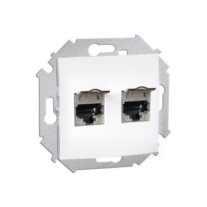 Doppel Computersteckdose RJ45 Kat. 5e geschirmt Weiß Kontakt Simon 1591554-030