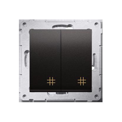 Doppel- Kreuzschalter (Modul) mit Aufdruck Anthrazit Kontakt Simon 54 Premium DW7/2.01/48