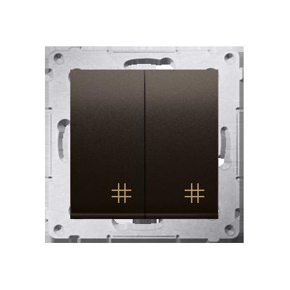 Doppel- Kreuzschalter (Modul) mit Aufdruck Braun Kontakt Simon 54 Premium DW7/2.01/46