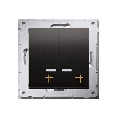 Doppel- Kreuzschalter (Modul) mit Aufdruck und LED Anthrazit Kontakt Simon 54 Premium DW7/2L.01/48