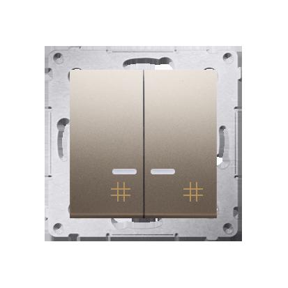 Doppel- Kreuzschalter (Modul) mit Aufdruck und LED Gold Kontakt Simon 54 Premium DW7/2L.01/44