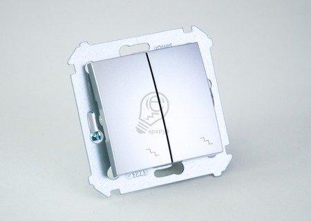 Doppel- Treppenschalter (Modul) mit Aufdruck Silber Kontakt Simon 54 Premium DW6/2.01/43