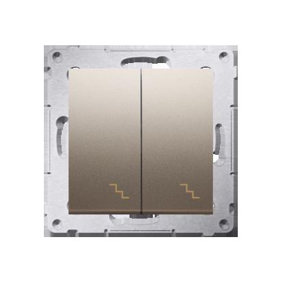 Doppel- Treppenschalter (Modul) mit Aufdruck und LED Gold Kontakt Simon 54 Premium DW6/2L.01/44