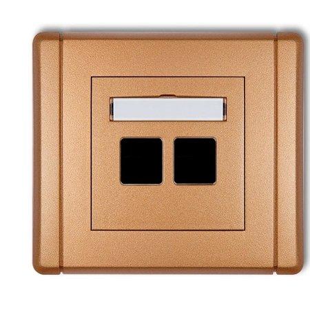 Doppelte Multimedia-Steckdose ohne Modul (Keystone-Standard) gold 8FGM-2P