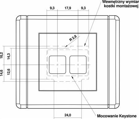 Doppelte Multimedia-Steckdose ohne Modul (Keystone-Standard) weiß FGM-2P