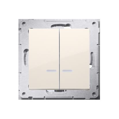 Doppelter Kerzenschalter (Modul) mit LED IP44 cremeweiß Kontakt Simon 54 Premium DW5ABL.01/41