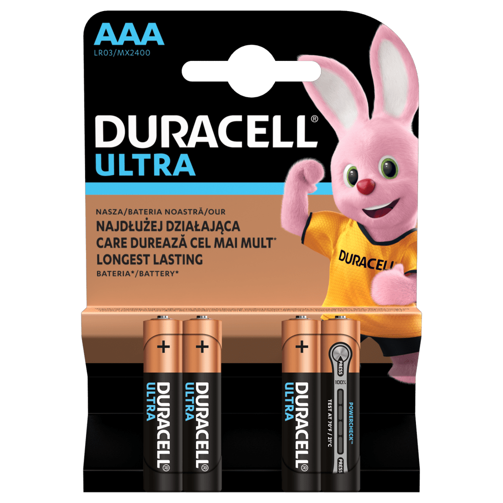Duracell ULTRA POWER Alkaline-Batterie AAA LR03 1,5V Blister 4 Stück