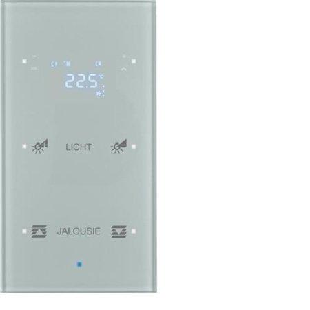 Glas-Sensor 2fach mit Temperaturregler TS Sensor konfiguriert alu  Hager 75642134