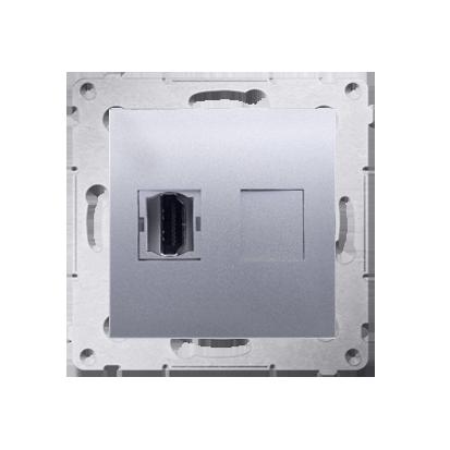 HDMI Anschlussdose Modul-Einsätze 1fach silber matt Simon 54 Premium Kontakt Simon DGHDMI.01/43
