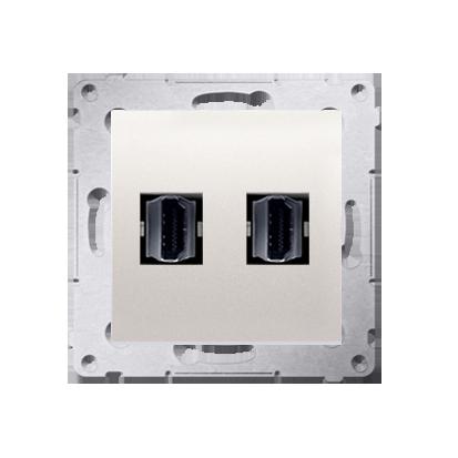 HDMI Anschlussdose Modul-Einsätze 2fach cremeweiß matt Simon 54 Premium Kontakt Simon DGHDMI2.01/41