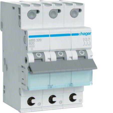 Hager MBS320  Leitungsschutzschalter 3 polig 6kA B-Charakteristik 20A QuickConnect 3 Module