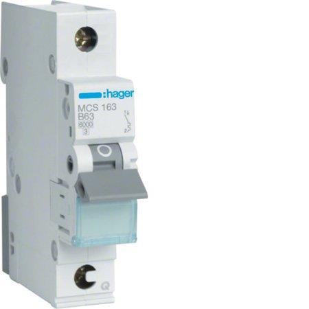 Hager MCS163  Leitungsschutzschalter 1 polig 6kA C-Charakteristik 63A QuickConnect 1 Modul