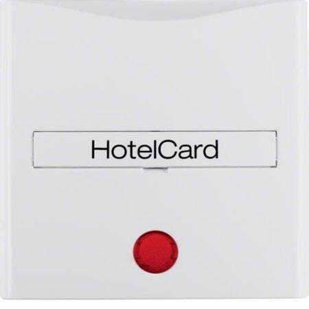 Hotelcard-Schaltaufsatz mit Aufdruck und roter Linse S.1 polarweiß glänzend Hager 16408989