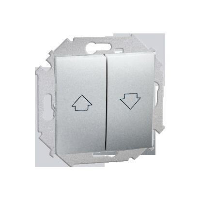 Jalousie-Schalter (Modul) mit Aufdruck Symbol Pfeile und Schraubklemmen Aluminium
