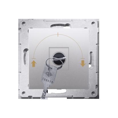 """Jalousie-Schlüsselschalter 1polig """"0-I-II"""" Silber Kontakt Simon 54 Premium DPZK.01/43"""