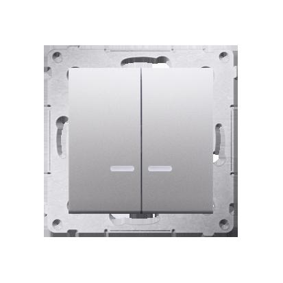 Kerzenschalter (Modul) 2x 1polig mit LED Silber IP44 Kontakt Simon 54 Premium DW5BL.01/43