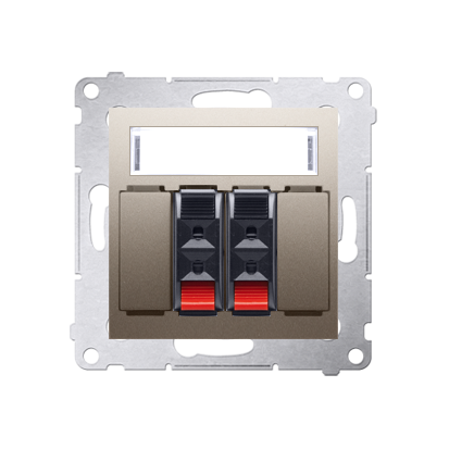 Lautsprecher Anschlussdose Modul-Einsätze 2fach gold matt Kontakt Simon 54 Premium DGL32.01/44