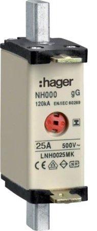 NH-Sicherungseinsatz NH000 gG 500V 25A Kombi-Melder mit isolierter-Grifflasche Hager LNH0025MK