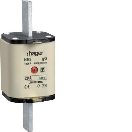 NH-Sicherungseinsatz NH2C gG 500V 224A Kombi- Melder mit isolierter Grifflasche Hager LNH2224MK
