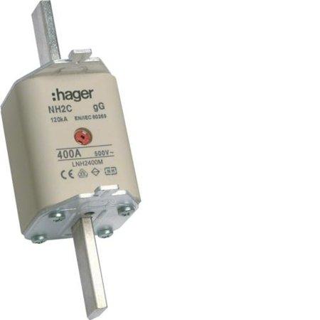 NH-Sicherungseinsatz NH2C gG 500V 400A Kombi- Melder mit isolierter Grifflasche Hager LNH2400M