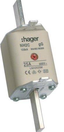 NH-Sicherungseinsatz NH2c gG 500V 25A Kombi- Melder Grifflasche spannungsführend Hager LNH2025MK