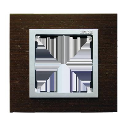 Rahmen 1fach wenge/ Zwischenrahmen aluminium matt Kontakt Simon 82 82917-65