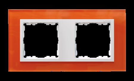 Rahmen 2fach Glas orange/ Zwischenrahmen weiß Kontakt Simon 82  82627-65