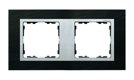 Rahmen 2fach schiefer/ Zwischenrahmen aluminium matt Kontakt Simon 82 82927-63