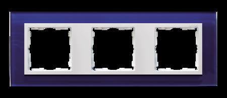 Rahmen 3fach Glas dunkelblau/ Zwischenrahmen weiß Kontakt Simon 82  82637-64