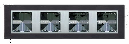 Rahmen 4fach Glas Inox schwarz/ Zwischenrahmen aluminium Kontakt Simon 82 82947-38