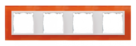 Rahmen 4fach Glas orange/ Zwischenrahmen weiß Kontakt Simon 82  82647-65