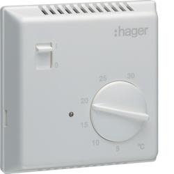 Raumthermostat, Bi-Metall, mit Schliesser-Kontakt und Ein/Aus-Schalter Hager EK051