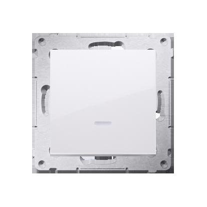 Schalter (Modul) mit LED (blaue Linse) weiß glänzend Kontakt Simon 54 Premium DW1AL.01/11